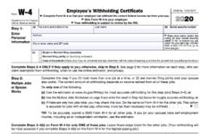 Employee W 4 Form 2020 W 4 Form Printable
