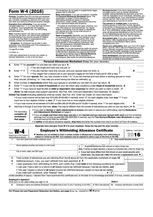 Fillable Form W 4 Employee S Withholding Allowance