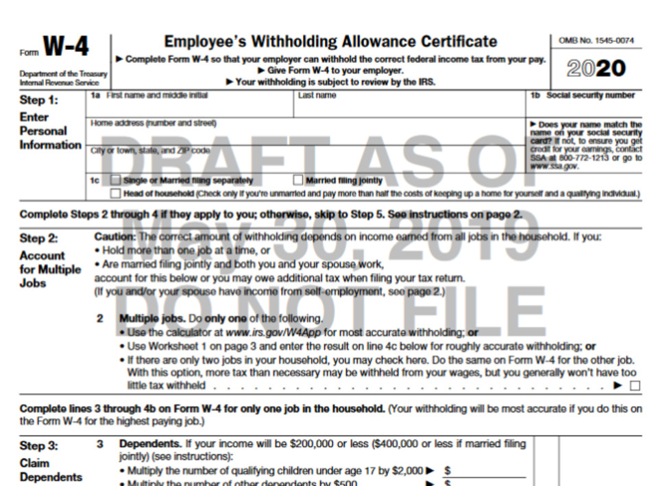 IRS Unveils Draft Version Of New W 4 Form