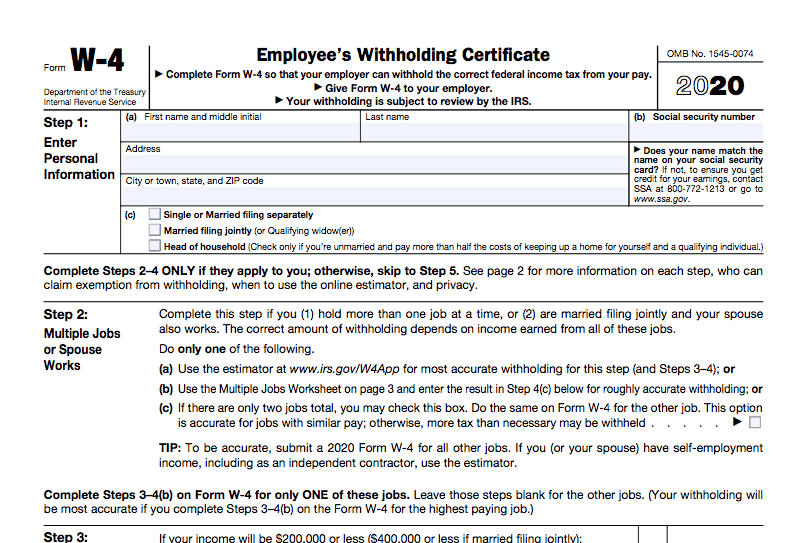 W 4 Federal 2020 Form | W4 2020 Form Printable