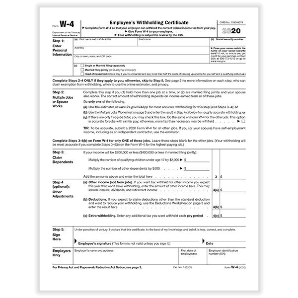 IRS W 4 Form HRdirect