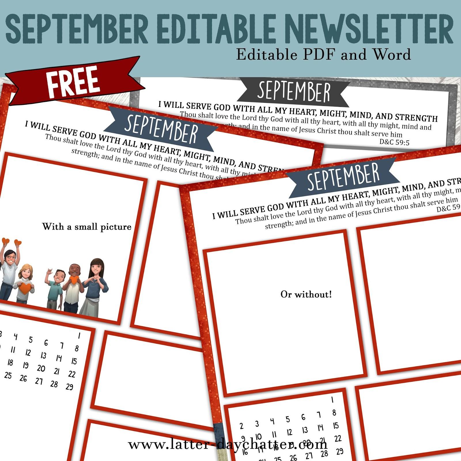 Latter day Chatter September Editable Newsletter