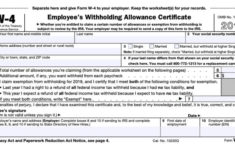Printable W 4 Form For Employees 2020