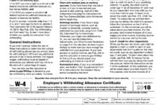 W 4 Form 2018 Printable IRS Blank Download PDF