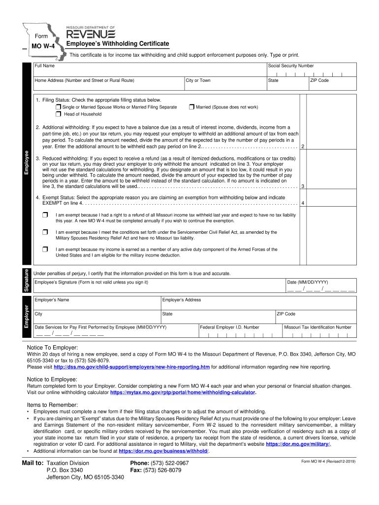 Missouri 2021 W 4 Form Printable