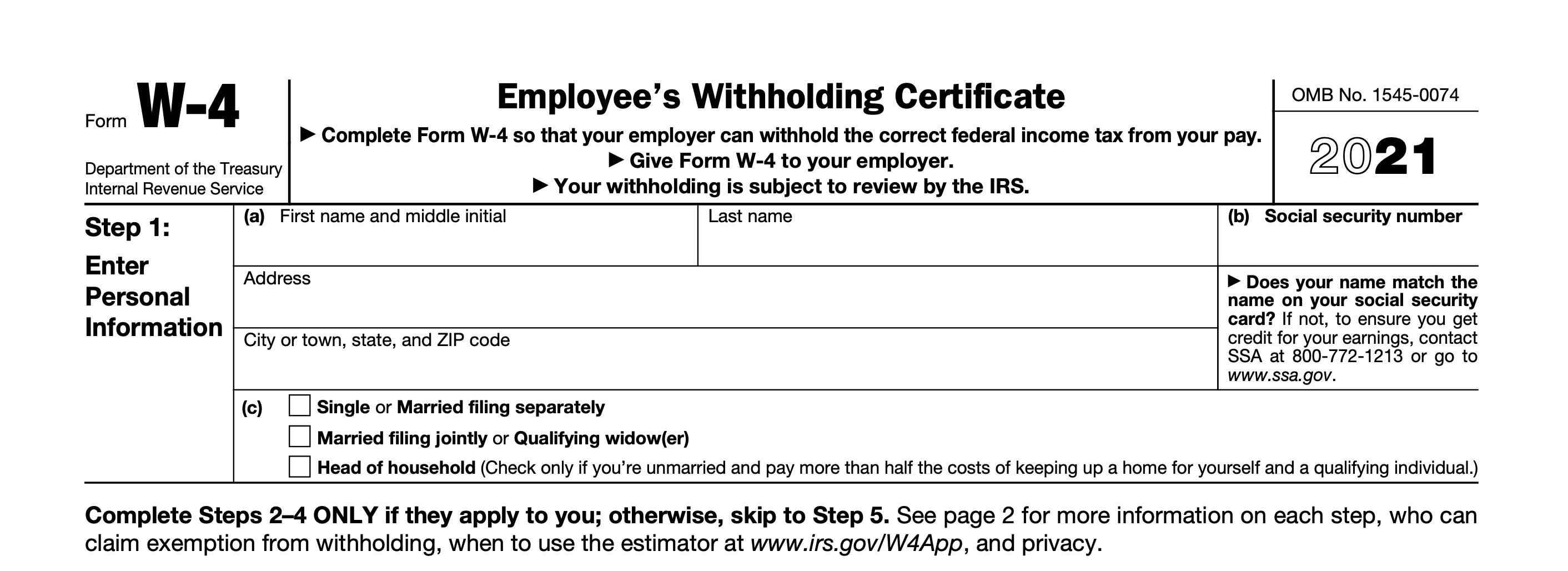 Oregon W 4 Form 2021 Instructions