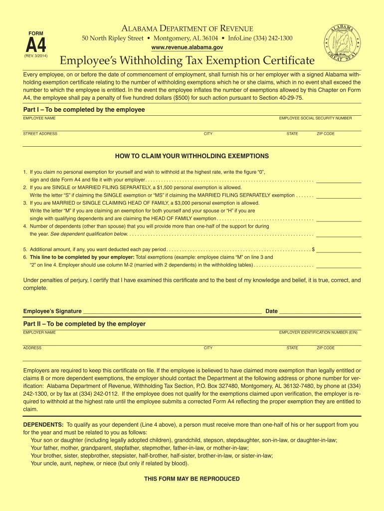 Alabama Form A 4 2021