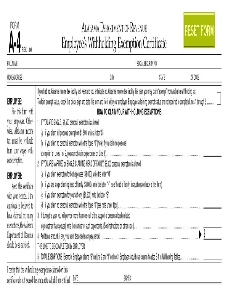 Alabama W4 2021 Form