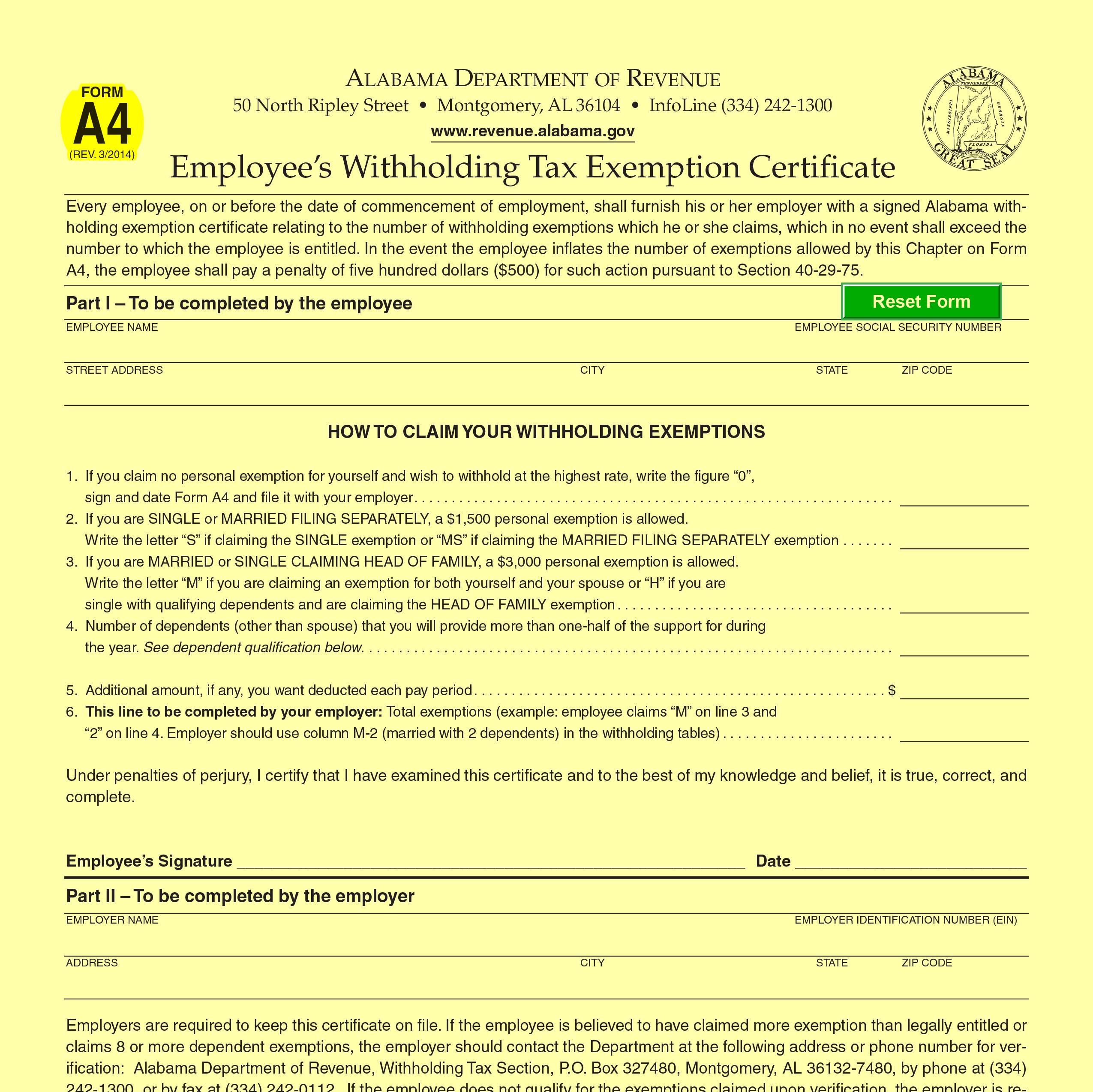 Alabama State Tax Withholding 2021