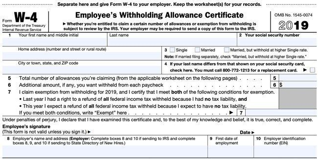 W-4 Form State Of California