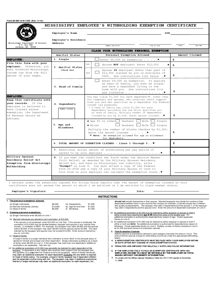 Mississippi Employee Withholding Form 2021