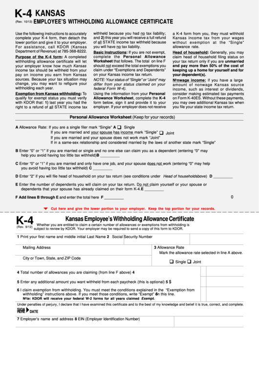 Kansas K 4 Form 2021
