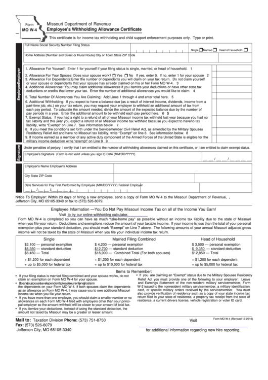 Missouri Withholding Form W 4