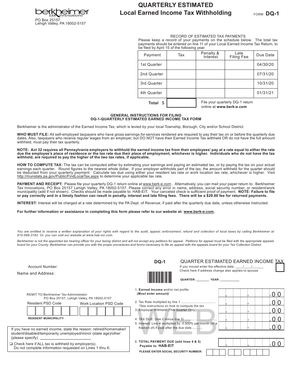 Form DQ 1 Download Fillable PDF Or Fill Online Quarterly