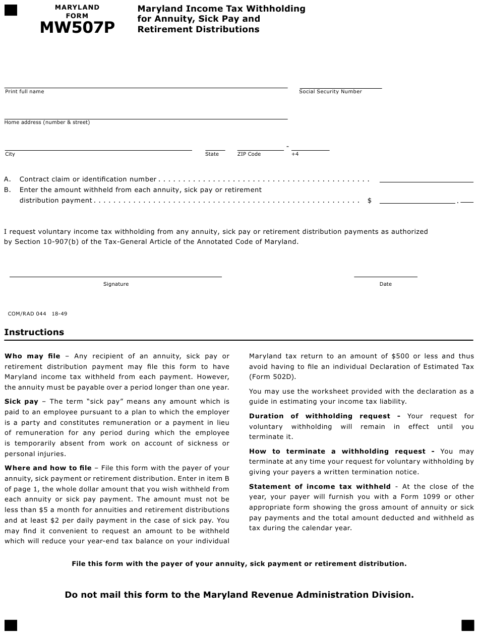 Maryland Tax Withholding Form 2021