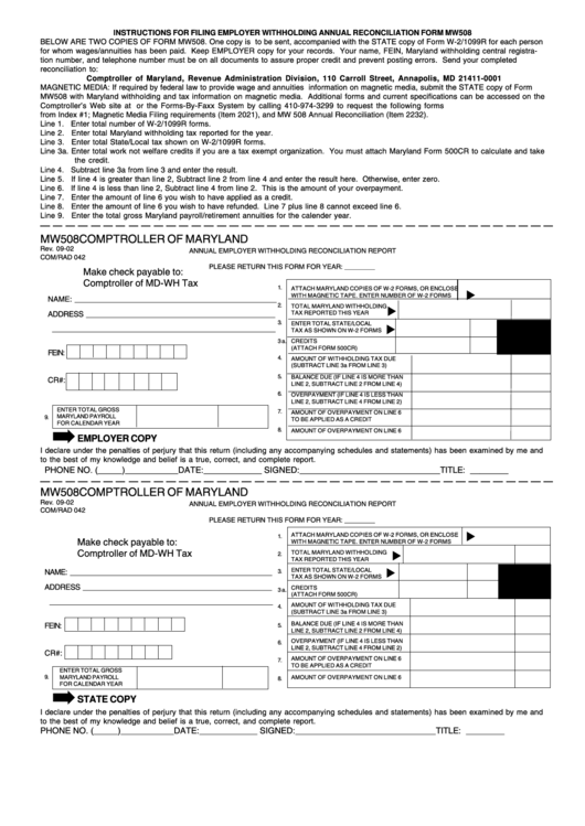 2021 MD State Withholding Form