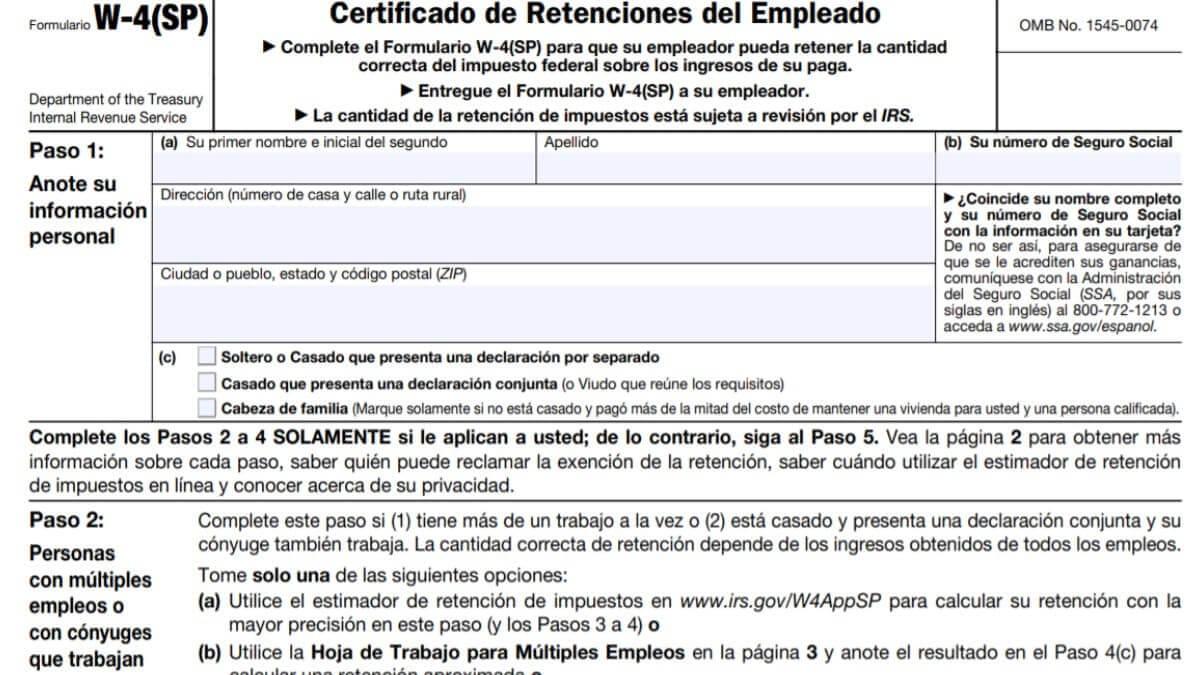 W4 Form 2021 Spanish Printable