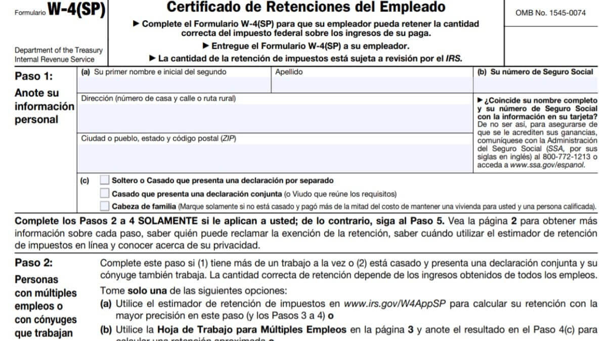 Form W4 2021 In Spanish