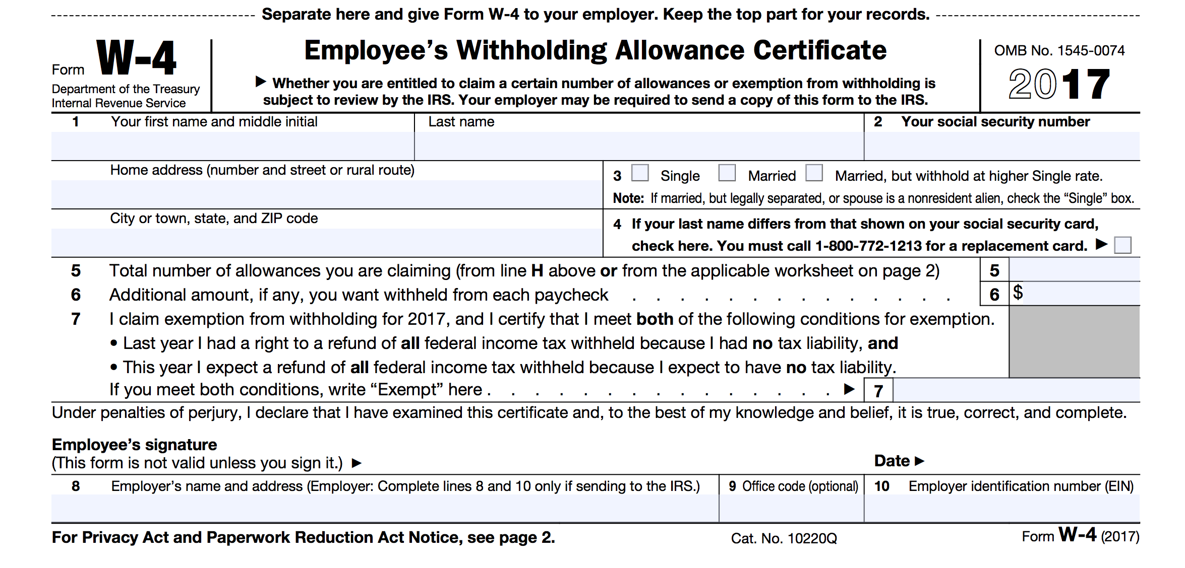 Printable Mi W-4 Tax Form