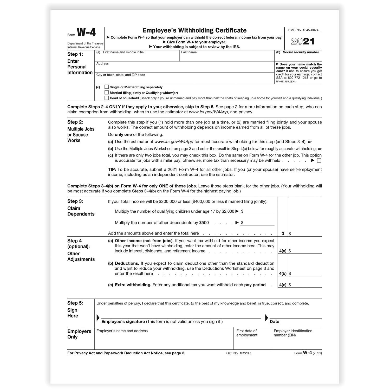 2021 W 4 Form Printable
