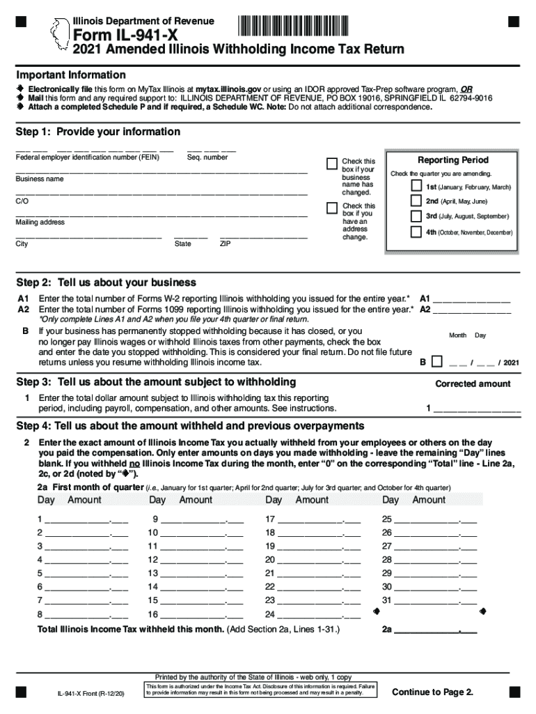 IL State Withholding Form 2021