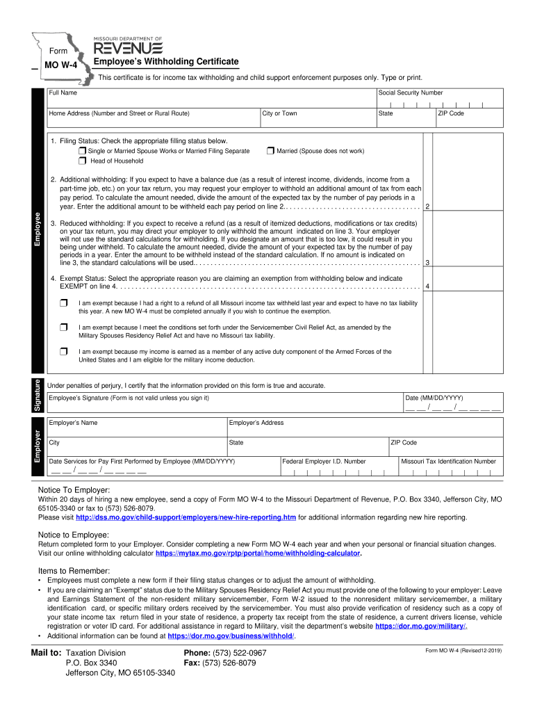 MO W 4 2019 Fill Out Tax Template Online US Legal Forms