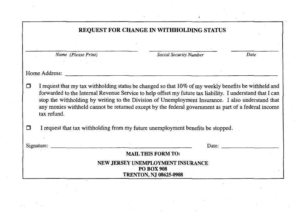 New Jersey Withholding
