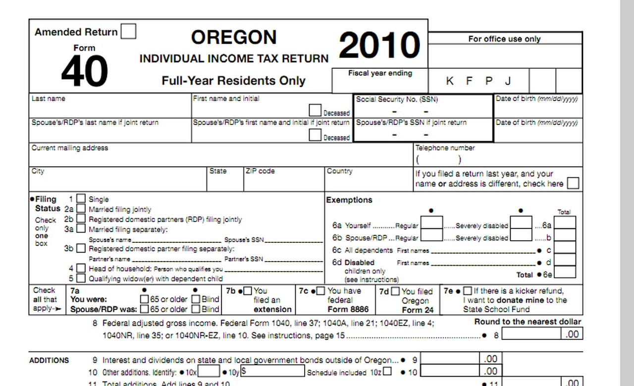 State Of Oregon Tax Forms 2021