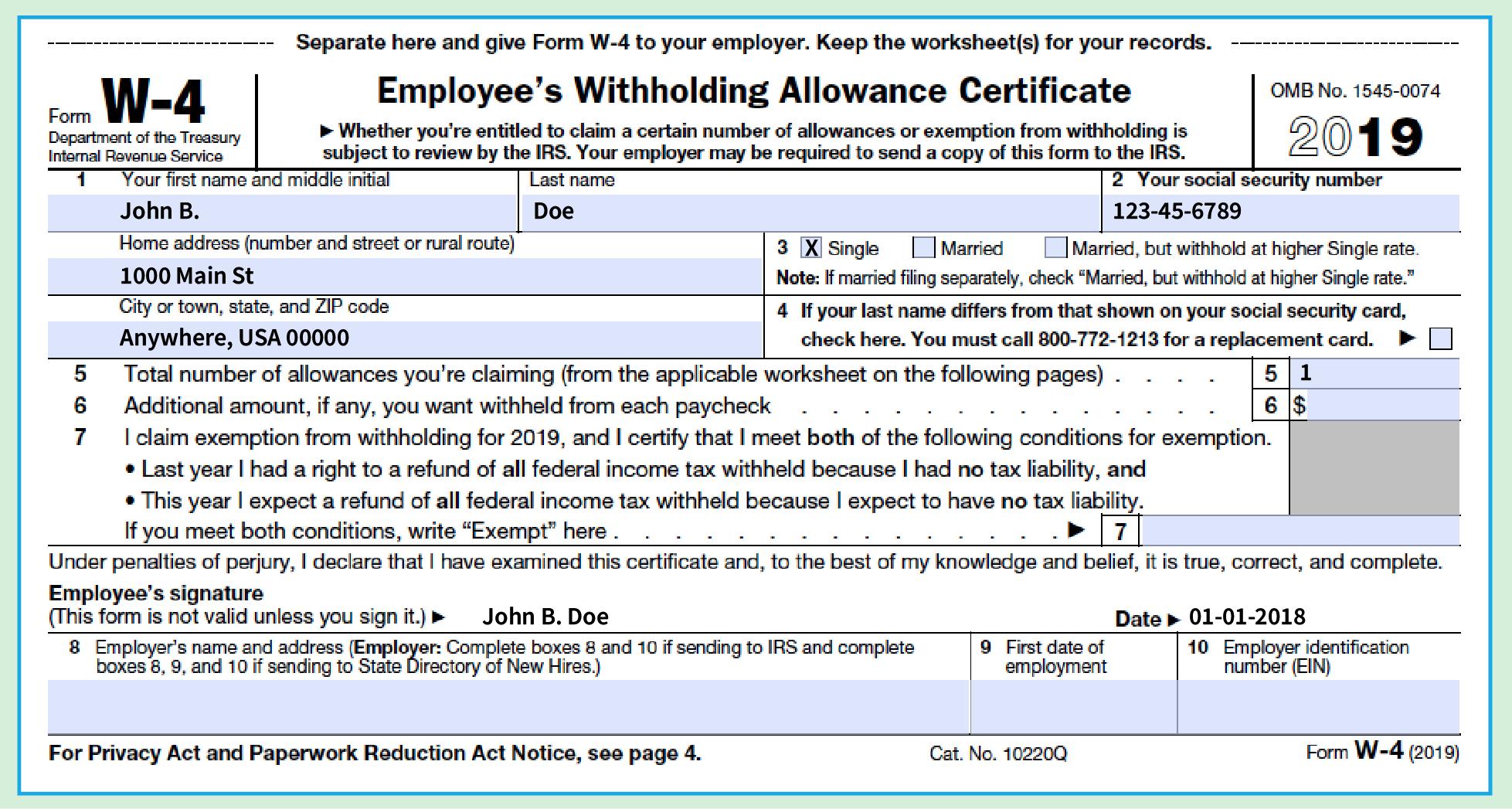 W 4 Form Sample W4 2020 Form Printable