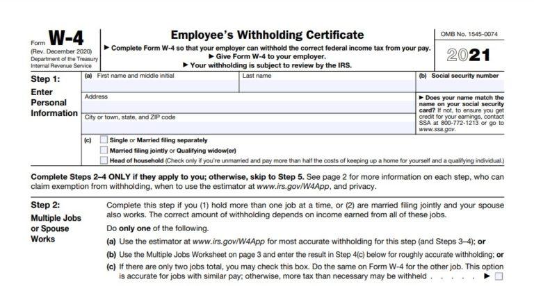 2021 W-4 Form Printable Michigan