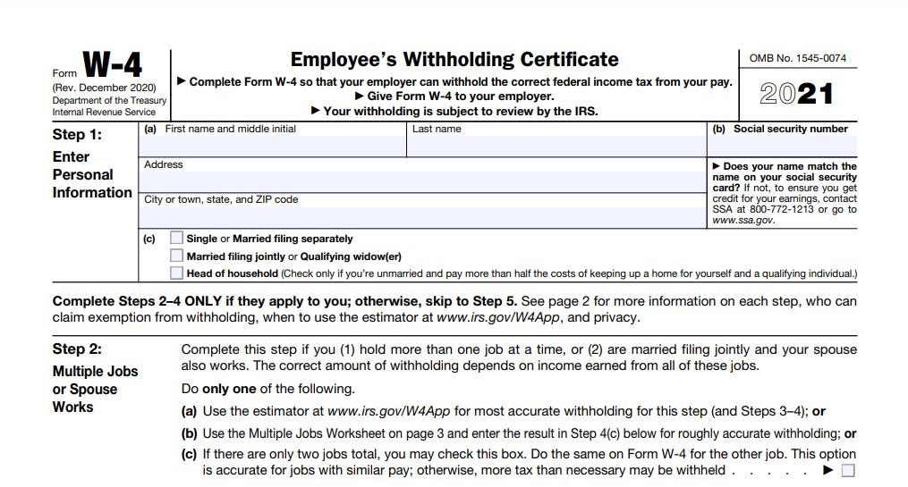 California W4 Form 2021 Printable