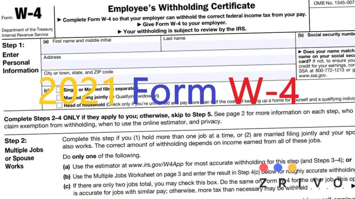 W4 Form 2021 W 4 Forms Zrivo